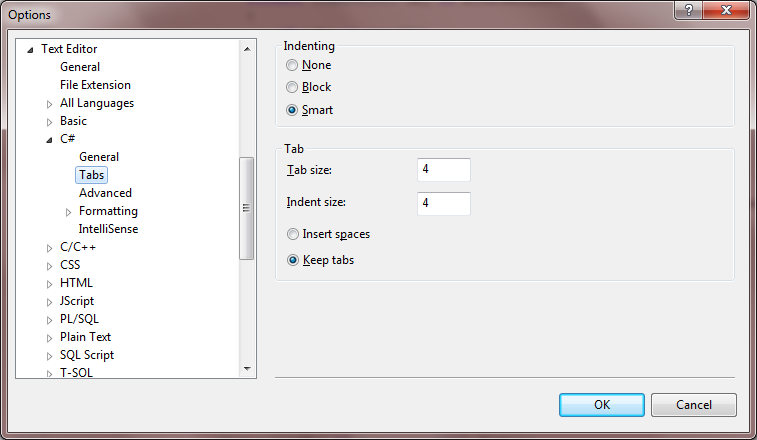 Visual Studio 2008 Tab Settings.png